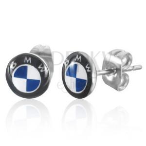 Kruhové puzetové náušnice z oceli - světlemodré logo BMW