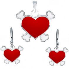 Stříbrný 925 set náušnic a přívěsku - červené pirátské srdce Q1.2