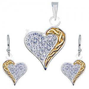 Sada náušnic a přívěsku ze stříbra 925 - zirkony, zlatý pás, srdce