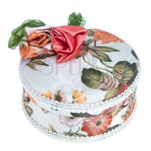 Kulatá šperkovnice - látkový potah s mašlí a růžemi