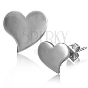 Lesklé puzetové náušnice z oceli - prohnuté srdce