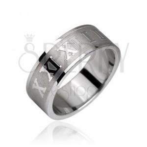 Prsten z chirurgické oceli, římské číslice na matném pruhu