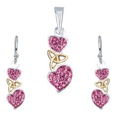 Stříbrná sada 925 - náušnice a přívěsek, růžová srdce, keltský uzel AA35.26