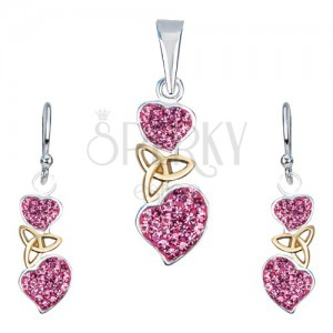 Stříbrná sada 925 - náušnice a přívěsek, růžová srdce, keltský uzel