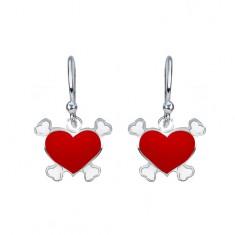 Stříbrné visací náušnice 925 - červené srdce, pirátský motiv AA36.24