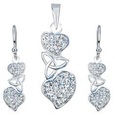 Stříbrný set 925 - náušnice a přívěsek, čirá srdce, keltský uzel AA36.21