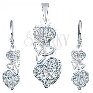 Stříbrný set 925 - náušnice a přívěsek, čirá srdce, keltský uzel