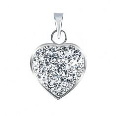 Stříbrný 925 přívěsek ve tvaru čirého třpytivého srdce se zirkony AA38.27