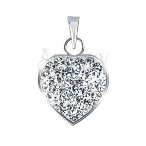 Stříbrný 925 přívěsek ve tvaru čirého třpytivého srdce se zirkony