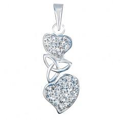 Přívěsek ze stříbra 925 - keltský uzel mezi srdci, zirkony AA45.21