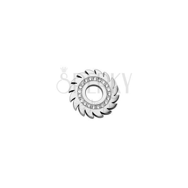 Přívěsek z oceli - ozubené kolečko se zirkony