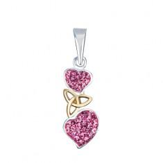 Stříbrný přívěsek 925 - růžová srdce s keltským uzlem AA38.21