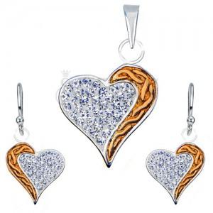 Stříbrná 925 sada náušnic a přívěsku - zirkony, srdce se zlatým pásem