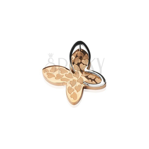 Ocelový přívěsek - čtyřlístek se srdíčky