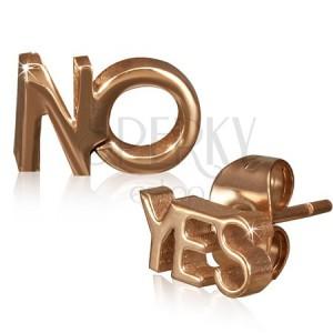 Puzetové náušnice z oceli - YES a NO ve zlatorůžové barvě