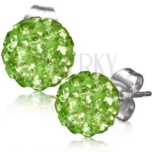 Zelené puzetové náušnice, kulička s kamínky