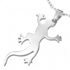 Stříbrný ocelový přívěsek - lesklá ještěřička pro štěstí AA34.25