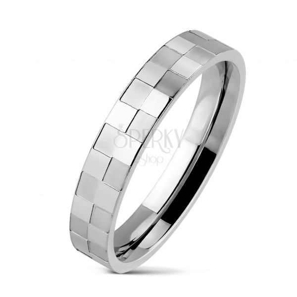 Ocelový prsten tenký s matnou a lesklou šachovnicí