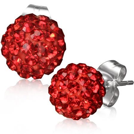 Červené kuličkové náušničky z oceli - zirkony