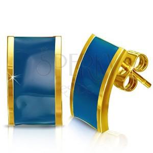 Ocelové náušnice - zlaté obdélníky s modrou výplní
