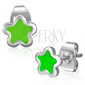 Ocelové puzetky - drobná hvězdička se zelenou glazurou