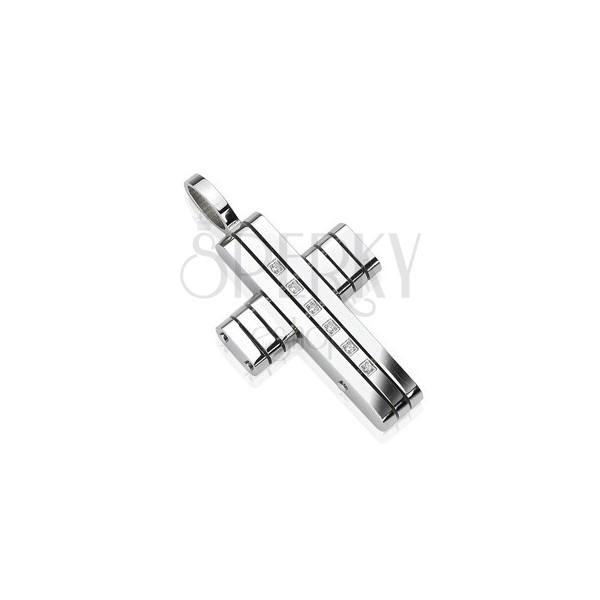 Přívěsek z chirurgické oceli - kříž v pásech se zirkony