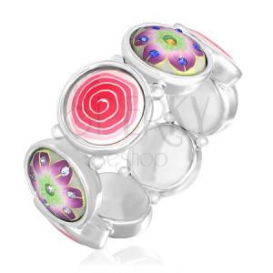 FIMO náramek - barevný motiv spirály a květů se zirkony