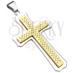 Mohutný kříž zlato-stříbrný se šachovnicí