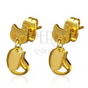 Puzetové náušnice z chirurgické oceli - zlatá kočka