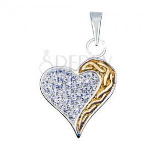 Přívěsek srdce ze stříbra 925 se zirkony a zlatou spirálou