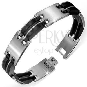 Lesklý náramek z gumy a chirurgické oceli - hodinkový styl