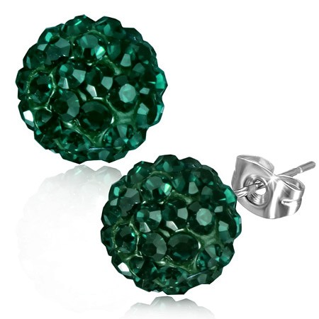 Smaragdově zelené náušnice z oceli s kamínky, puzetky