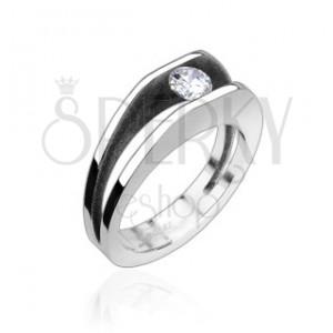 Ocelový prsten s 5 mm zirkonem