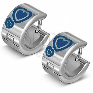Lesklé kruhové náušnice z oceli, stříbrné, modrá srdce