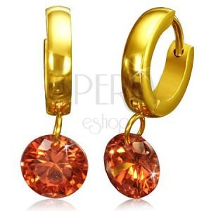 Zlaté ocelové náušnice, lesklý kruh s velkým oranžovým zirkonem