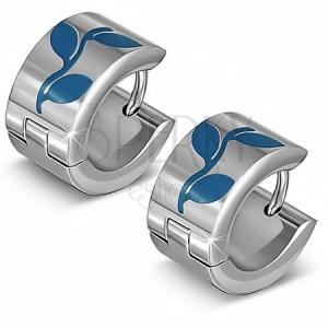 Kruhové stříbrné náušnice z oceli, modré siluety listů