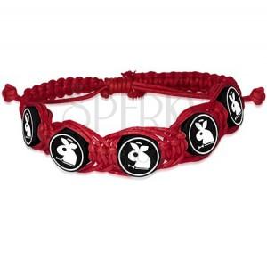 Červený pletený náramek, Fimo kruhové korálky se zajíčkem