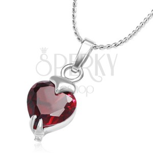 Kovový náhrdelník s řetízkem a červeným srdcovým zirkonem