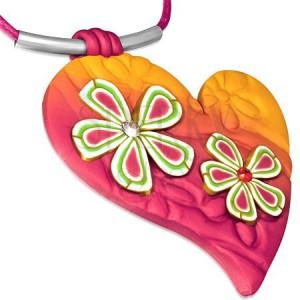Náhrdelník FIMO, růžovo-oranžové srdce s květy a zirkony