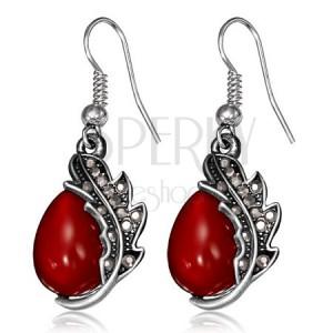 Visací náušnice – červený kamínek, patinovaný list, háčky