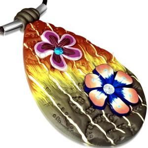 FIMO náhrdelník – vícebarevná slza zdobená květy a zirkony