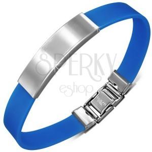Modrý gumový náramek s hladkou zaoblenou známkou z oceli