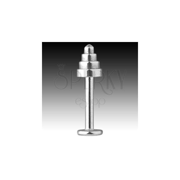 Labret z oceli 316L - kužel se zaobleným hrotem, tloušťka 1,6 mm
