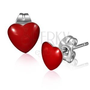 Puzetové náušnice z chirurgické oceli - lesklé červené srdce