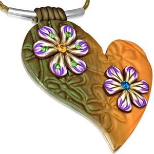 Náhrdelník, zeleno-oranžové FIMO srdce, květy se zirkony