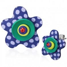 Náušnice z FIMO hmoty - modrá puntíkovaná hvězdice a zirkon