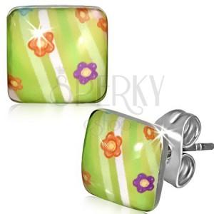 Čtvercové ocelové náušnice - zelené s květinkami a pruhy