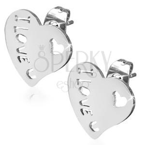 Náušnice z chirurgické oceli, srdce, I LOVE YOU HEART