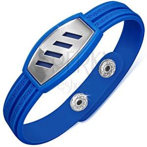 Gumový modrý náramek, řecký kříž, ocelová známka