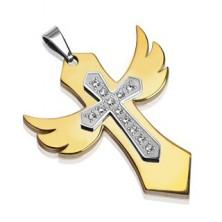 Ocelový přívěsek zlatá křídla s křížem se zirkony